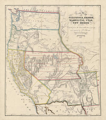 Art Print featuring the drawing Antique Map Of The Western United States By John Disturnell - 1853 by Blue Monocle