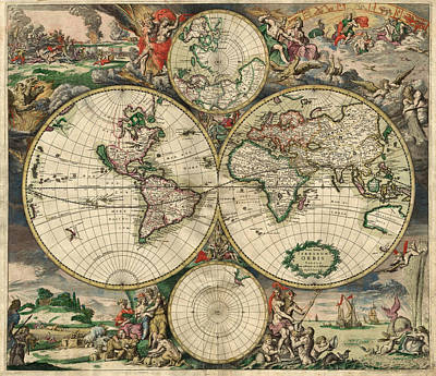Antique Map Of The World - 1689 Art Print by Marianna Mills