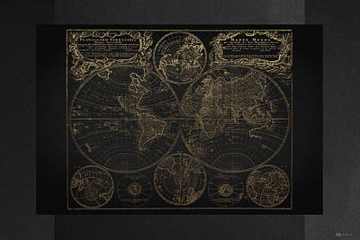 Antique Map Of The World - Gold On Black Canvas Original