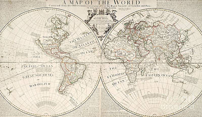 World Map Drawing - Antique Map Of The World by John Senex and John Maxwell