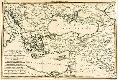 Eastern Europe Drawing - Antique Map Of Turkey by Guillaume Raynal