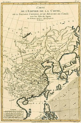 Asia Drawing - Antique Map The Chinese Empire by Guillaume Raynal
