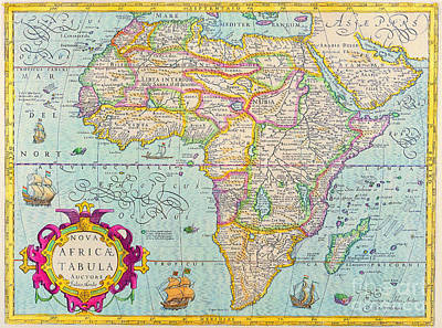 Painting - Antique Maps Of The World Map Of Africa Jodocus Hondius C 1610 by R Muirhead Art