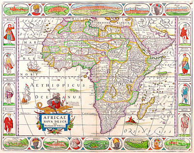 Painting - Antique Maps Of The World Map Of Africa Nicolas Visscher C 1658 by R Muirhead Art