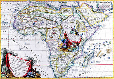 Painting - Antique Maps Of The World Map Of Africa Vincenzo Coronelli C 1692 by R Muirhead Art