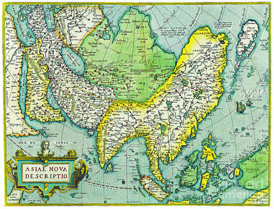 Painting - Antique Maps Of The World Map Of Asia Abraham Ortelius C 1570 by R Muirhead Art