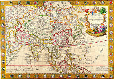 Mixed Media - Antique Maps Of The World Map Of Asia  Guillaume Danet  C 1732 by R Muirhead Art