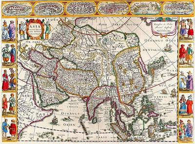 Painting - Antique Maps Of The World  Map Of Asia  Jan Jansson  C 1632 by R Muirhead Art