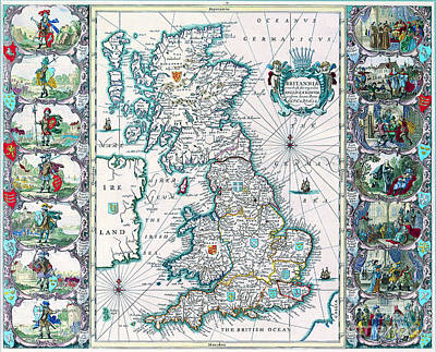 Painting - Antique Maps Of The World Map Of British Isles John Speed C 1676 by R Muirhead Art