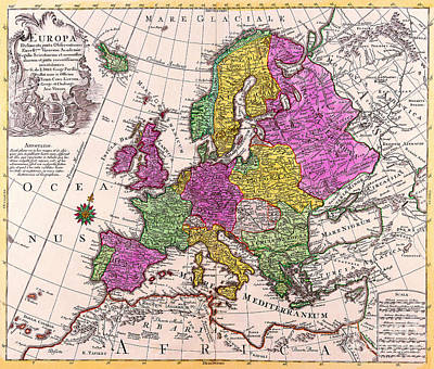 Painting - Antique Maps Of The World Map Of Europe Conrad Lotter C 1760 by R Muirhead Art