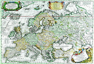 Drawing - Antique Maps Of The World Map Of Europe Vincenzo Coronelli C 1690 by R Muirhead Art