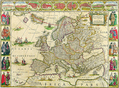 Painting - Antique Maps Of The World Map Of Europe Willem Blaeu C 1650 by R Muirhead Art