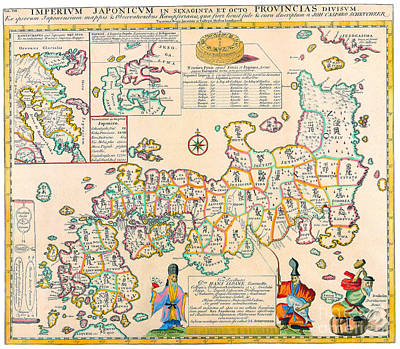 Painting - Antique Maps Of The World  Map Of Japan  Engelbert Kaempfer  C 1727 by R Muirhead Art