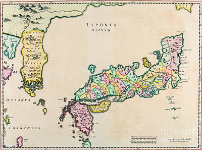 Painting - Antique Maps Of The World  Map Of Japan  Joan Blaeu  C 1655 by R Muirhead Art