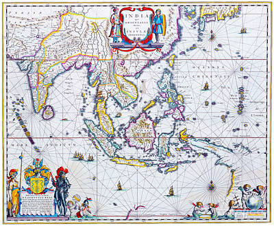 Painting - Antique Maps Of The World Map Of South East Asia Willem Blaeu C 1650 by R Muirhead Art