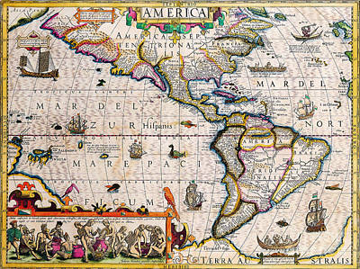 Painting - Antique Maps Of The World Maps The Americas Jodocus Hondius C 1619 by R Muirhead Art