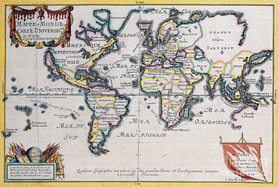 Antique Maps Of The World Nicolas De Fer C 1724 Print by R Muirhead Art