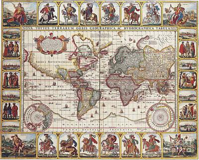 Antique Maps Of The World Nicolas Visscher C 1652 Print by R Muirhead Art