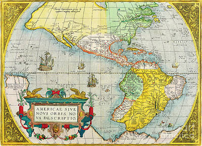 Painting - Antique Maps Of The World The Americas Abraham Ortelius C 1579 by R Muirhead Art