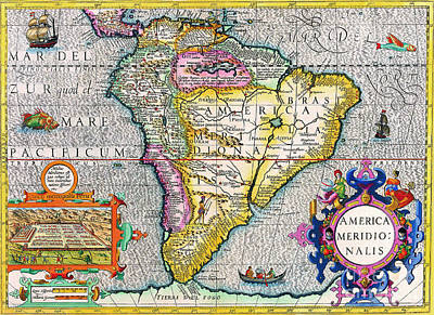Painting - Antique Maps Of The World The Americas Henricus Hondius C 1630 by R Muirhead Art