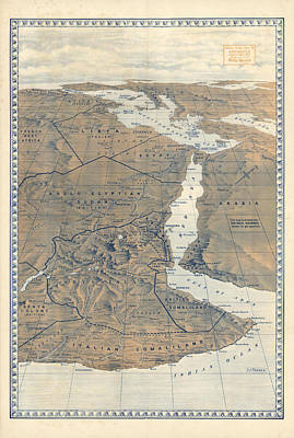 Royalty-Free and Rights-Managed Images - Antique Maps - Old Cartographic maps - Abyssinia Relief Map, S.J Turner by Studio Grafiikka