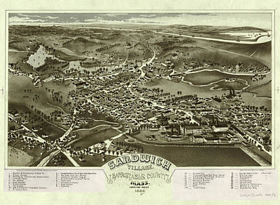 Royalty-Free and Rights-Managed Images - Antique Maps - Old Cartographic maps - Antique Birds Eye Map of Sandwich, Massachusetts, 1884 by Studio Grafiikka