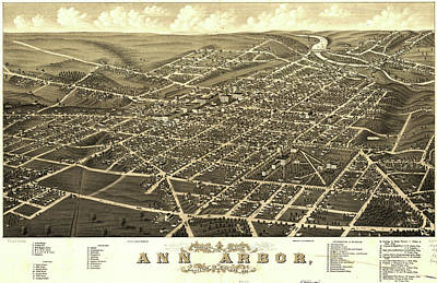 Royalty-Free and Rights-Managed Images - Antique Maps - Old Cartographic maps - Antique Birds Eye View Map of Ann Arbor, Michigan, 1880 by Studio Grafiikka