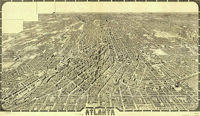 Drawing - Antique Maps - Old Cartographic Maps - Antique Birds Eye View Map Of Atlanta by Studio Grafiikka