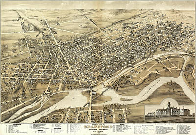 Royalty-Free and Rights-Managed Images - Antique Maps - Old Cartographic maps - Antique Birds Eye View Map of Brantford, Canada, 1875 by Studio Grafiikka