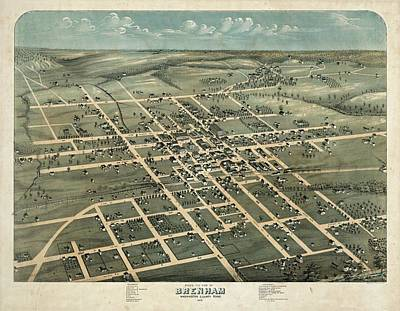 Royalty-Free and Rights-Managed Images - Antique Maps - Old Cartographic maps - Antique Birds Eye View Map Of Brenham, Washington, 1873 by Studio Grafiikka
