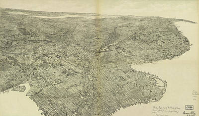 Cities Drawings - Antique Maps - Old Cartographic maps - Antique Birds Eye View Map of Brooklyn, New York, 1975 by Studio Grafiikka
