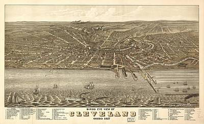 Animals Drawings - Antique Maps - Old Cartographic maps - Antique Birds Eye View Map of Cleveland, Ohio, 1877 by Studio Grafiikka
