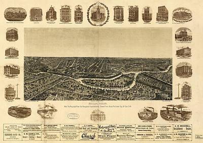 Dallas Drawing - Antique Maps - Old Cartographic Maps - Antique Birds Eye View Map Of Dallas, Texas, 1892 by Studio Grafiikka