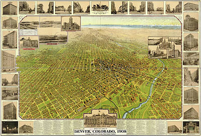Denver Drawing - Antique Maps - Old Cartographic Maps - Antique Birds Eye View Map Of Denver, Colorado, 1908 by Studio Grafiikka