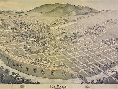 Royalty-Free and Rights-Managed Images - Antique Maps - Old Cartographic maps - Antique Birds Eye View Map Of El Paso, Texas, 1885 by Studio Grafiikka
