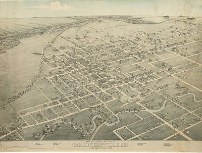 Royalty-Free and Rights-Managed Images - Antique Maps - Old Cartographic maps - Antique Birds Eye View Map of Gainesville, Texas, 1883 by Studio Grafiikka