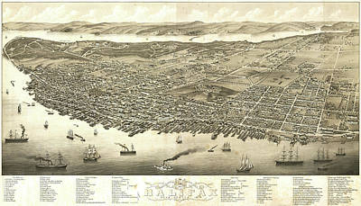 Royalty-Free and Rights-Managed Images - Antique Maps - Old Cartographic maps - Antique Birds Eye View Map of Halifax, Nova Scotia, 1879 by Studio Grafiikka