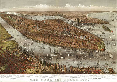 Cities Drawings - Antique Maps - Old Cartographic maps - Antique Birds Eye View Map of Jersey, New York and Brooklyn by Studio Grafiikka