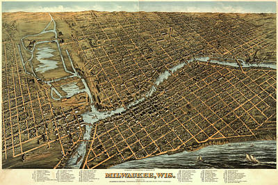 Royalty-Free and Rights-Managed Images - Antique Maps - Old Cartographic maps - Antique Birds Eye View Map of Milwaukee, Wisconsin, 1872 by Studio Grafiikka