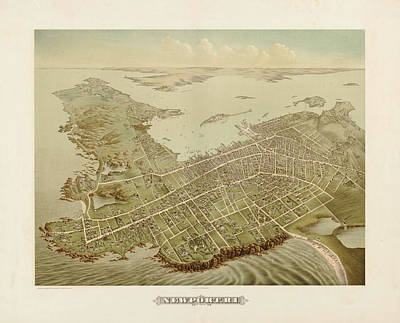 Royalty-Free and Rights-Managed Images - Antique Maps - Old Cartographic maps - Antique Birds Eye View Map of Newport, 1878 by Studio Grafiikka