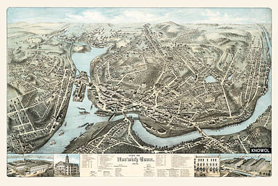 Animals Drawings - Antique Maps - Old Cartographic maps - Antique Birds Eye View Map of Norwich, England, 1876 by Studio Grafiikka