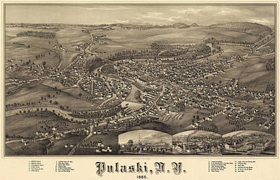 Royalty-Free and Rights-Managed Images - Antique Maps - Old Cartographic maps - Antique Birds Eye View Map of Pulaski, Tennessee, 1885 by Studio Grafiikka