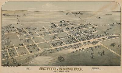 Royalty-Free and Rights-Managed Images - Antique Maps - Old Cartographic maps - Antique Birds Eye View Map of Schulenburg, Texas, 1881 by Studio Grafiikka