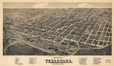 Royalty-Free and Rights-Managed Images - Antique Maps - Old Cartographic maps - Antique Birds Eye View Map of Texarkana, Texas 1888  by Studio Grafiikka