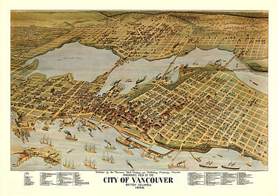 Royalty-Free and Rights-Managed Images - Antique Maps - Old Cartographic maps - Antique Birds Eye View Map of the City of Vancouver, 1898 by Studio Grafiikka