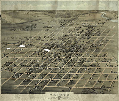 Royalty-Free and Rights-Managed Images - Antique Maps - Old Cartographic maps - Antique Birds Eye View Map of Victoria, Texas, 1873 by Studio Grafiikka