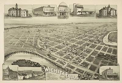 Animals Drawings - Antique Maps - Old Cartographic maps - Antique Birds Eye View Map of Wichita Falls, Texas, 1890 by Studio Grafiikka