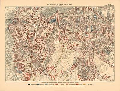 Royalty-Free and Rights-Managed Images - Antique Maps - Old Cartographic maps - Antique Descriptive Map of London Poverty, 1899 by Studio Grafiikka