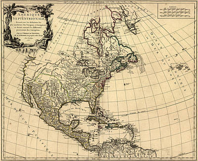 Royalty-Free and Rights-Managed Images - Antique Maps - Old Cartographic maps - Antique French Map of Northern America, 1750 by Studio Grafiikka