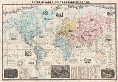Old World Vintage Cartographic Maps Wall Art - Drawing - Antique Maps - Old Cartographic Maps - Antique French Map Of The World, 1859 by Studio Grafiikka